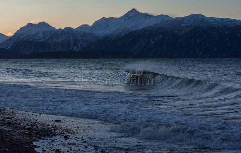 Brekende golf op het Strand Van Alaska stock foto