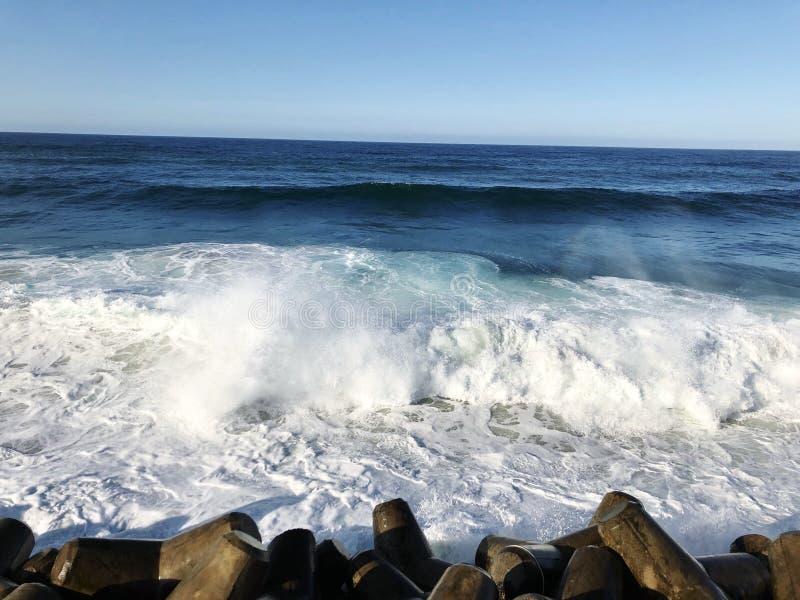Brekende golven op tetrapods royalty-vrije stock foto