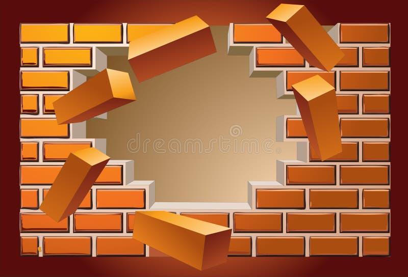 brekende muur stock illustratie