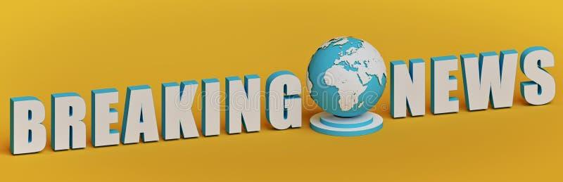 Brekende nieuwstekst met Aardebol het 3d teruggeven vector illustratie