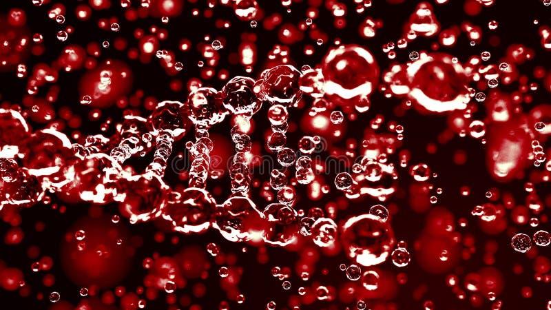 Brekende rode transparante DNA-molecule, het 3D teruggeven Kwaad, ziekte of genetische wanordeconcepten stock fotografie