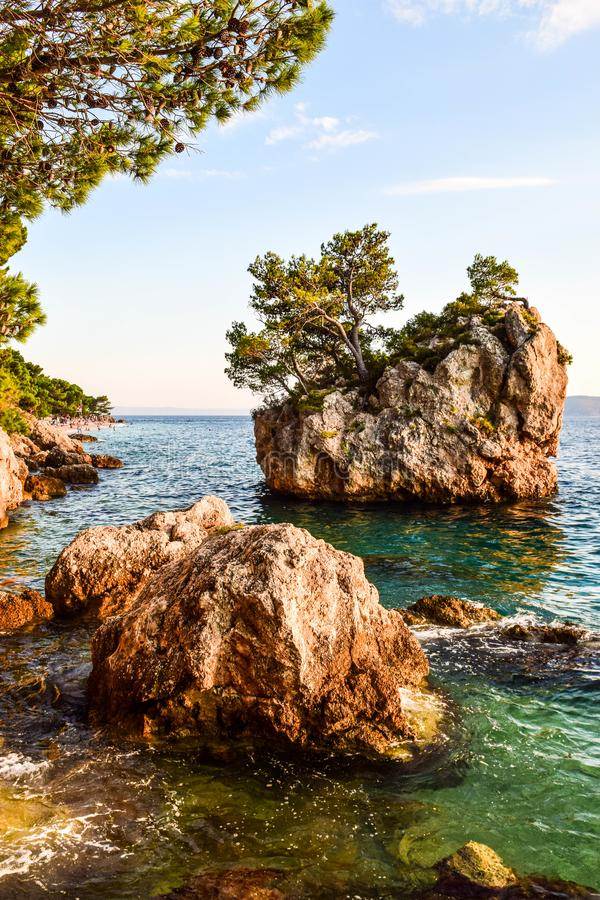 Brela岩石,克罗地亚 免版税库存图片