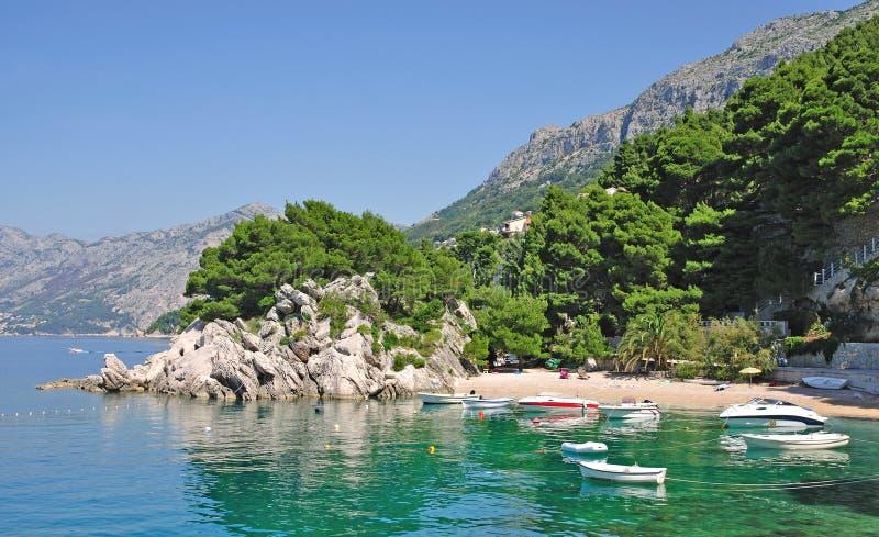 Brela, Makarska里维埃拉,达尔马提亚,克罗地亚 免版税库存图片