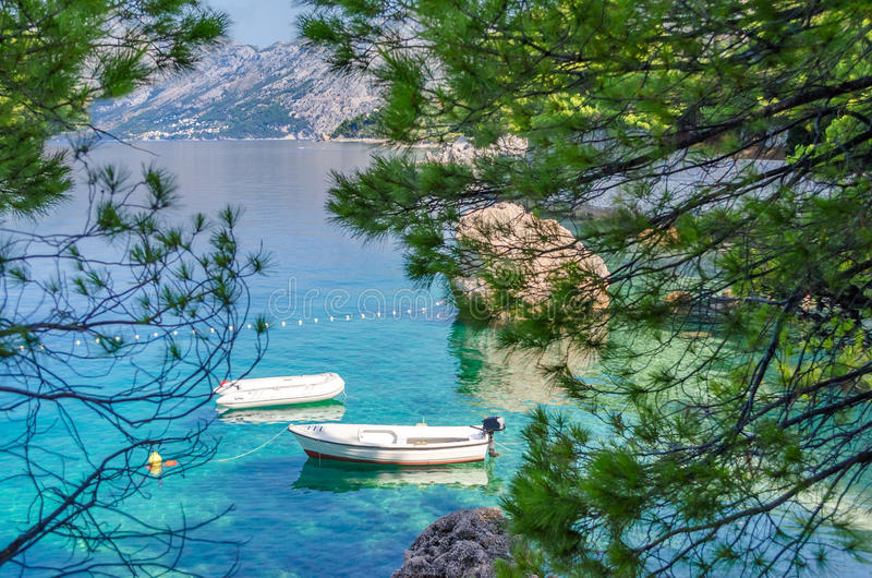 Brela, Κροατία Μια θαυμάσια θέση Brela με το κρύσταλλο - σαφή αδριατικά θάλασσα και άρωμα των πεύκων το καλοκαίρι Δαλματία, Makar στοκ εικόνα με δικαίωμα ελεύθερης χρήσης