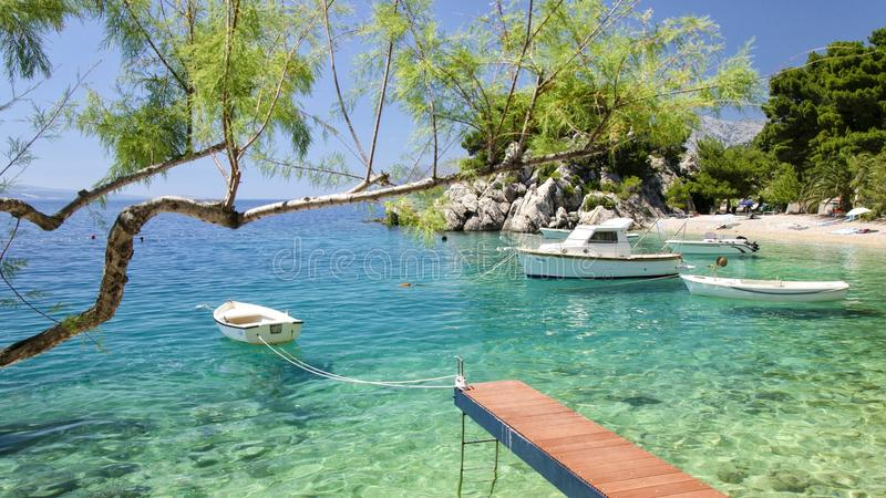 Brela σε Makarska Riviera, Δαλματία, Κροατία στοκ φωτογραφία με δικαίωμα ελεύθερης χρήσης