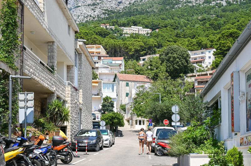Brela, Croatia. July 19, 2019: Residential buildings in Brela. The location on the Makarska riviera in Croatia is famous for its beautiful pebbly beaches and stock image