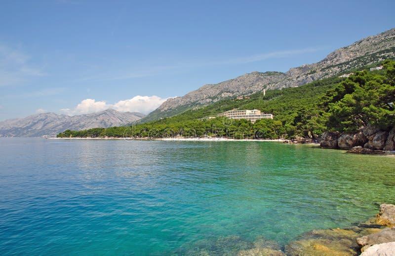 Brela, Makarska Riviera, Dalmácia, Croatia fotos de stock