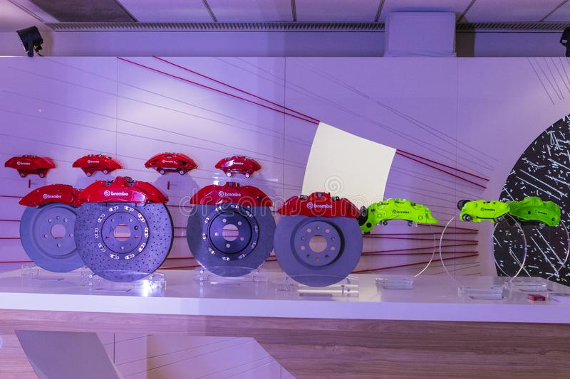Brembo Brake System on display during Los Angeles Auto Show royalty free stock photography
