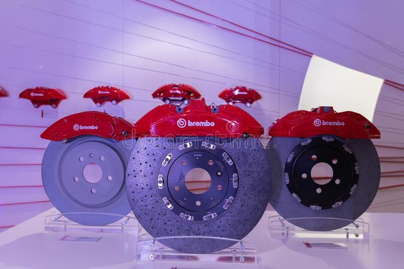 Brembo Brake System on display during Los Angeles Auto Show stock image
