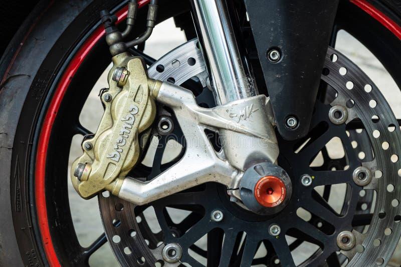 2019-05-17 Brembo, Hochleistung Front Brake Caliper Set auf dem Motorrad nach Rennen Pathumthani, Thailand stockfotos