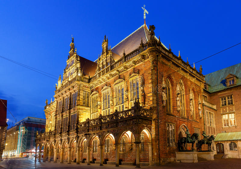 Bremen. The central market square. Town Hall. Old medieval market square in the historic part of the city. Bremen. Town Hall. Germany. Bavaria stock photo