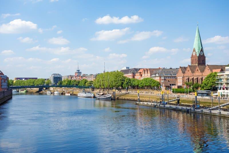 Bremen Cityscape, Weser. Bremen, Germany - June 6, 2014: Cityscape along the Weser river in Bremen, Germany stock image