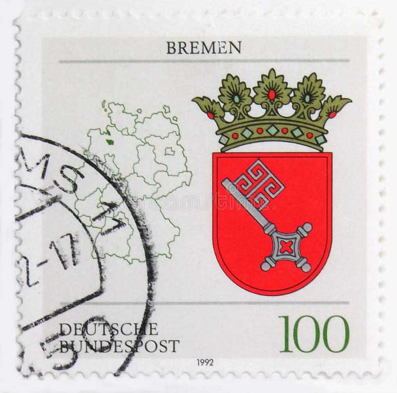 Bremen Coat of Arms, Coat of Arms of the Federal States of Germany serie, circa 1992 royalty free stock photos