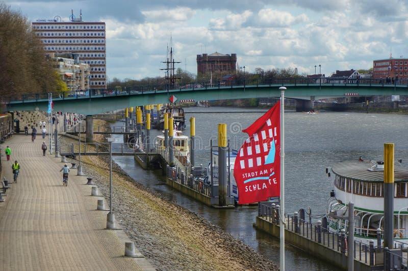 Bremen, Deutschland Ansicht zum Fluss Weser stockfotos