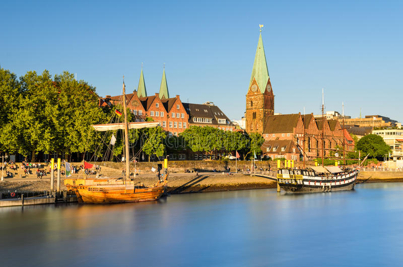 Bremen in evening light, Germany. The old city of Bremen in golden evening light, Germany stock photography