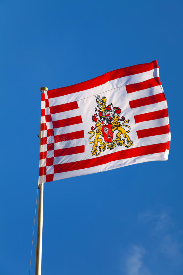 Bremen Flag. Flag of Bremen (Germany) waiving in the wind royalty free stock image
