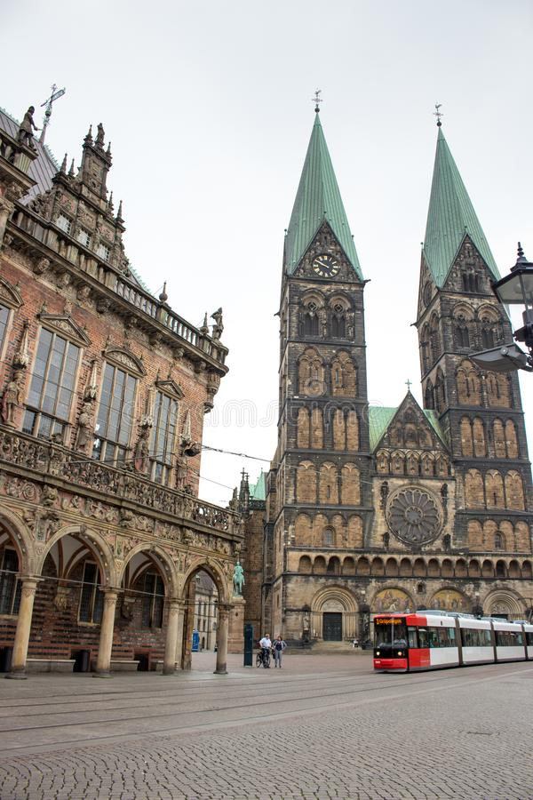 Central market square of Bremen with tram and ancient cathedral. Old historical center with urban transport and medieval building stock photos