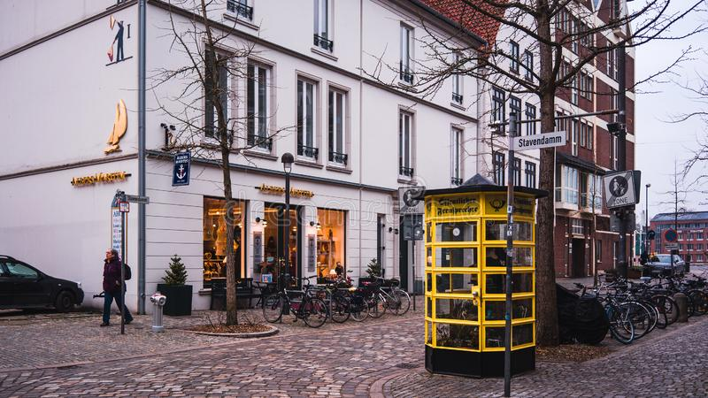 Bremen, Germany, January, 2019 - Colorful houses in historic Schnoorviertel in Bremen, Germany. Banner stock images