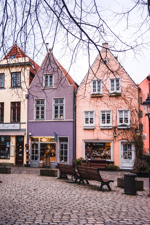 Bremen, Germany, January, 2019 - Colorful houses in historic Schnoorviertel in Bremen, Germany. Vertical royalty free stock photos