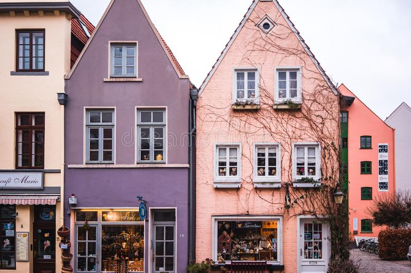 Bremen, Germany, January, 2019 - Colorful houses in historic Schnoorviertel in Bremen, Germany.  stock images