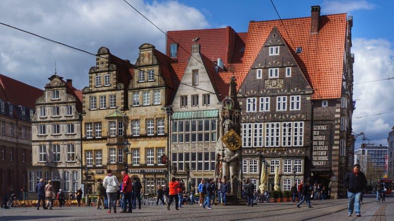 Bremen, Germany, Market square with statue. Editorial: Bremen, Germany, 17th April 2016. Main market square with the famous statue of 'Roland von Bremen' (' stock photo