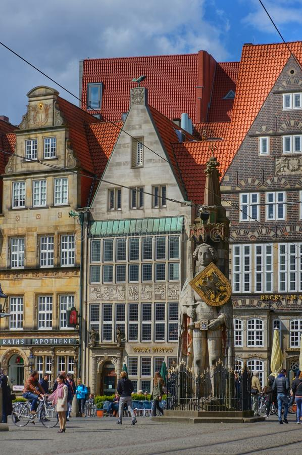 Bremen, Germany, Market square with statue. Editorial: Bremen, Germany, 17th April 2016. Main market square with the famous statue of 'Roland von Bremen' (' stock photos