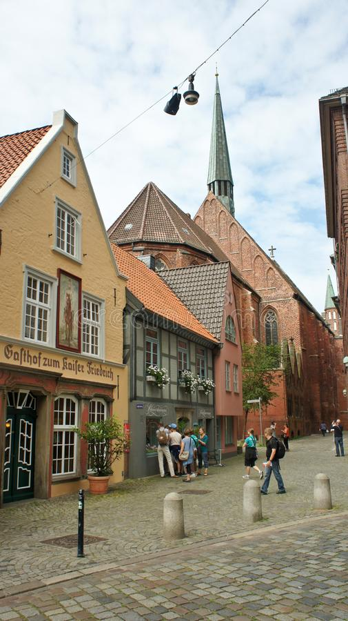 Bremen, Germany - 07/23/2015 - Medieval street Schnoor with half-timbered houses in the centre of the Hanseatic City, beautiful. Bremen, Germany - Medieval stock photos