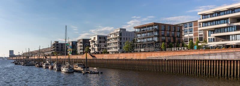 Bremen germany modern harbor panorama royalty free stock photography