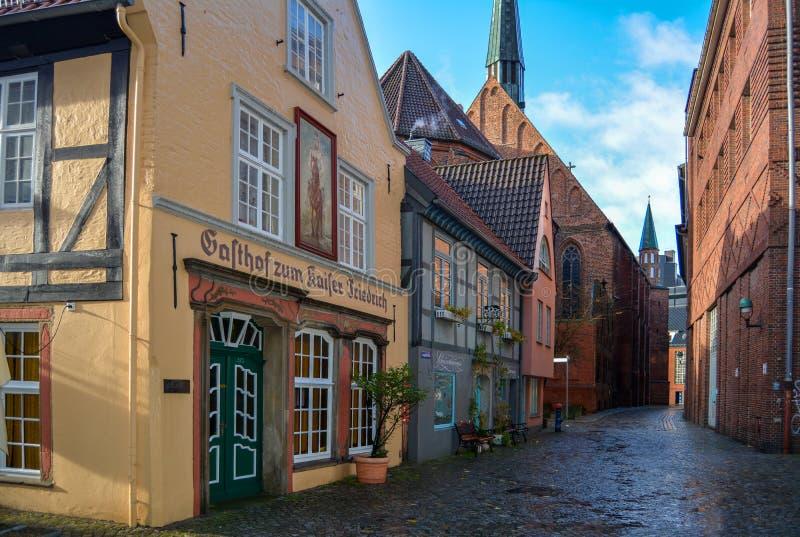 Bremen, Germany. 19 nov 2017. Street Schnoor in the old quarter in Bremen. Bremen, Germany. 19 nov 2017. Street Schnoor in the old Old quarter in Bremen after stock photography
