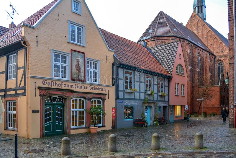 Bremen, Germany. 19 nov 2017. Street Schnoor in the old quarter in Bremen. Bremen, Germany. 19 nov 2017. Street Schnoor in the old Old quarter in Bremen after royalty free stock photography