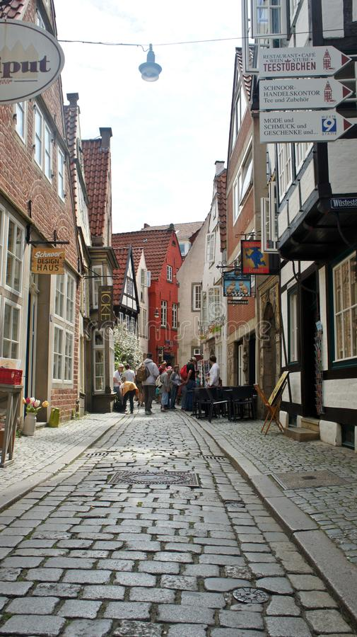 Bremen, Germany - 07/23/2015 - Picturesque view of medieval street Schnoor, half-timbered houses in the centre of the Hanseatic. Bremen, Germany - Picturesque stock photo