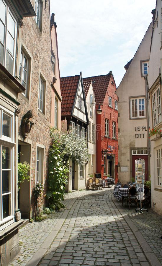 Bremen, Germany - 07/23/2015 - Scenic view of medieval street Schnoor with half-timbered houses in the centre of the Hanseatic. Bremen, Germany - Scenic view of royalty free stock photography