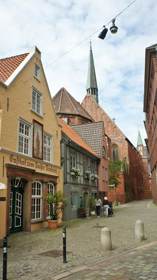 Bremen, Germany - 07/23/2015 - Scenic view of medieval street Schnoor with half-timbered houses in the centre of the Hanseatic. Bremen, Germany - Scenic view of stock photography