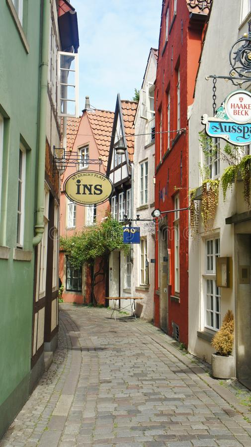 Bremen, Germany - 07/23/2015 - Scenic view of medieval street Schnoor, half-timbered houses in the centre of the Hanseatic City,. Bremen, Germany - Scenic view royalty free stock photography