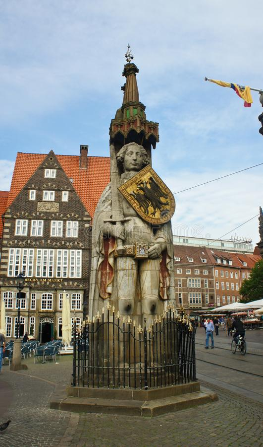Bremen, Germany - 07/23/2015 - Sculpture of the Bremen Roland on the main market square in the city center, medieval statue with royalty free stock image