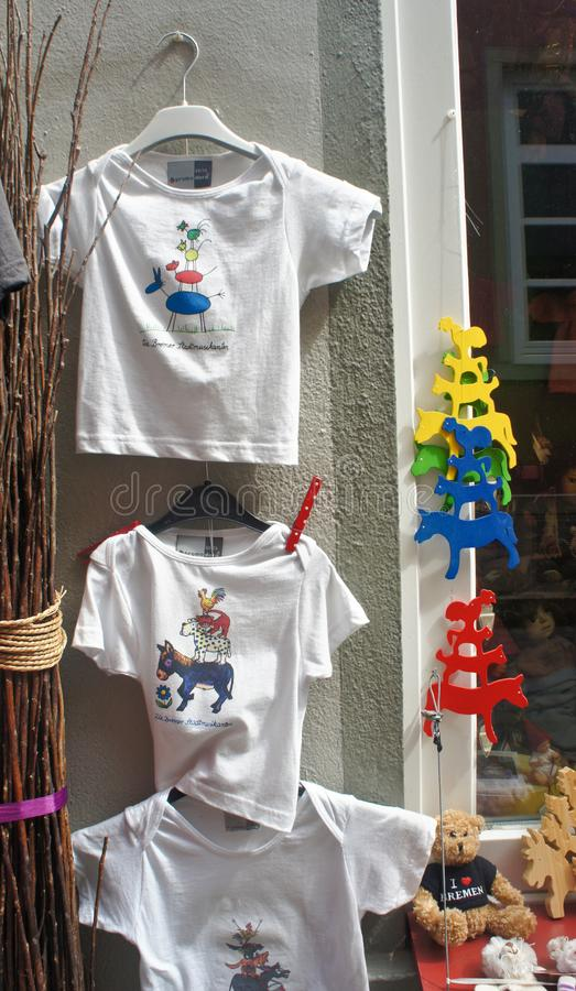 Bremen, Germany - 07/23/2015 - Souvenirs with Town Musicians in street Schnoor in the centre of the Hanseatic City, sunny day. Bremen, Germany - Souvenirs with royalty free stock photos