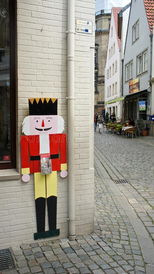 Bremen, Germany - 07/23/2015 - View of decor nutcracker on the wall of house in medieval street Schnoor in the centre of the. Bremen, Germany - View of decor stock image