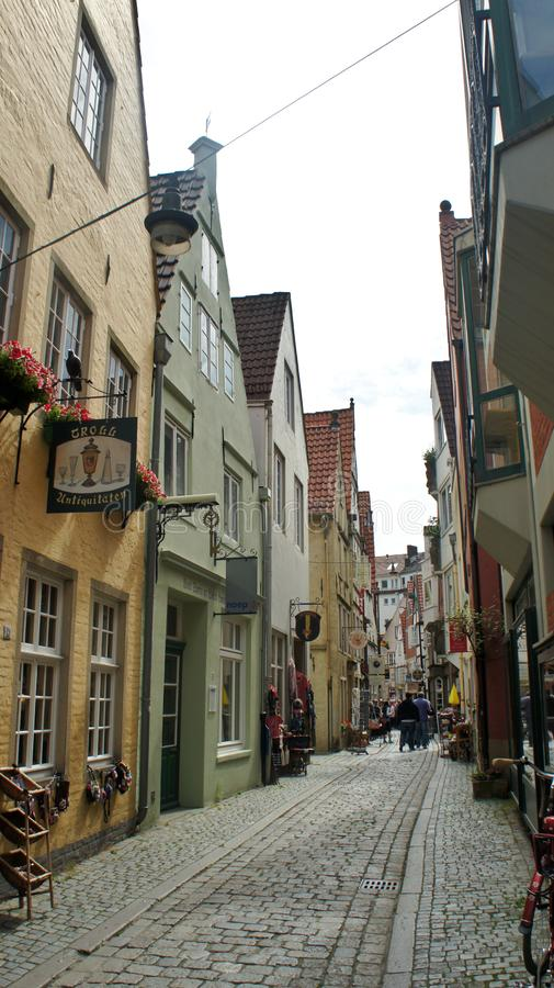 Bremen, Germany - 07/23/2015 - View of medieval street Schnoor, half-timbered houses in the centre of the Hanseatic City,. Bremen, Germany - View of medieval royalty free stock photo