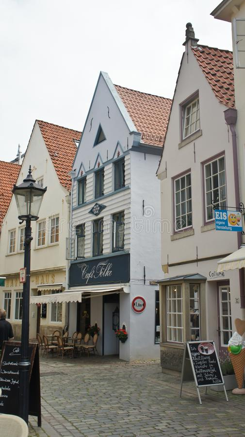 Bremen, Germany - 07/23/2015 - View of medieval street Schnoor, half-timbered houses in the centre of the Hanseatic City,. Bremen, Germany - View of medieval stock photography