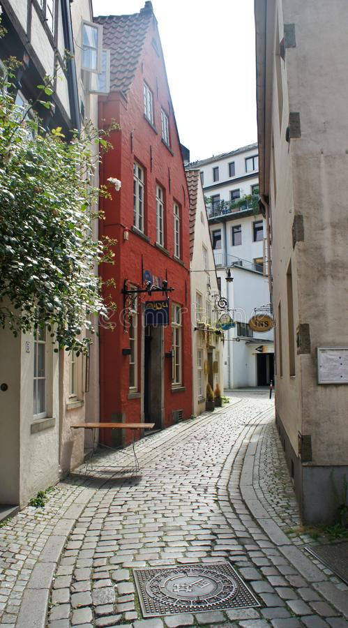 Bremen, Germany - 07/23/2015 - View of medieval street Schnoor, half-timbered houses in the centre of the Hanseatic City,. Bremen, Germany - View of medieval royalty free stock image