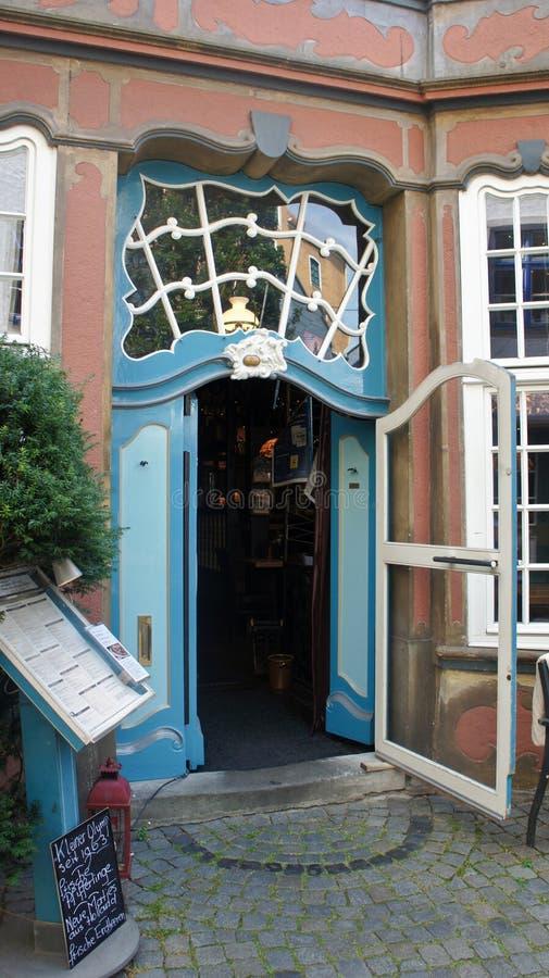Bremen, Germany - 07/23/2015 - View of old door portal in medieval street Schnoor in the centre of the Hanseatic City, entrance to. Bremen, Germany - View of old stock image