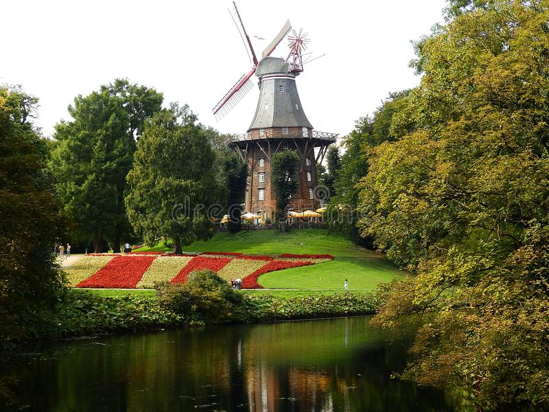 bremen germany windmill arkivbilder