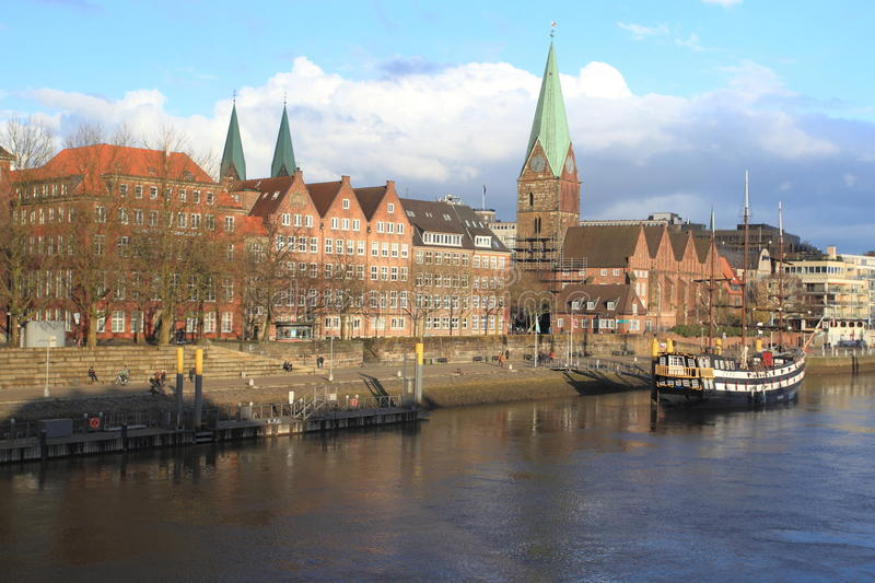 Bremen. Historic center and river Weser in Bremen, Germany stock photography