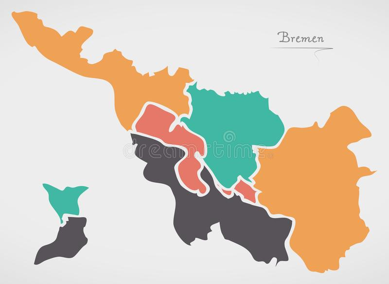 Bremen Map with boroughs and modern round shapes. Illustration royalty free illustration