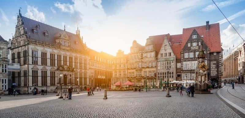 Bremen market square panorama at sunset, Germany royalty free stock photo