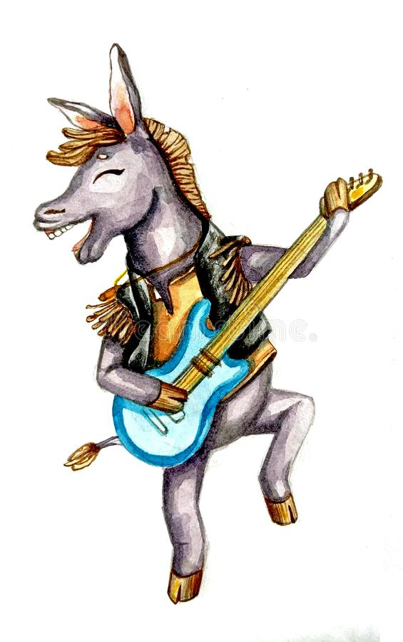 Hand drawn watercolor donkey with guitar vector illustration