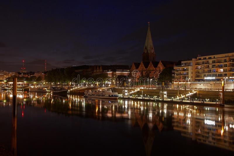 Bremen at night. The City Municipality of Bremen is a Hanseatic city in northwestern Germany. A commercial and industrial city with a major port on the river royalty free stock photo