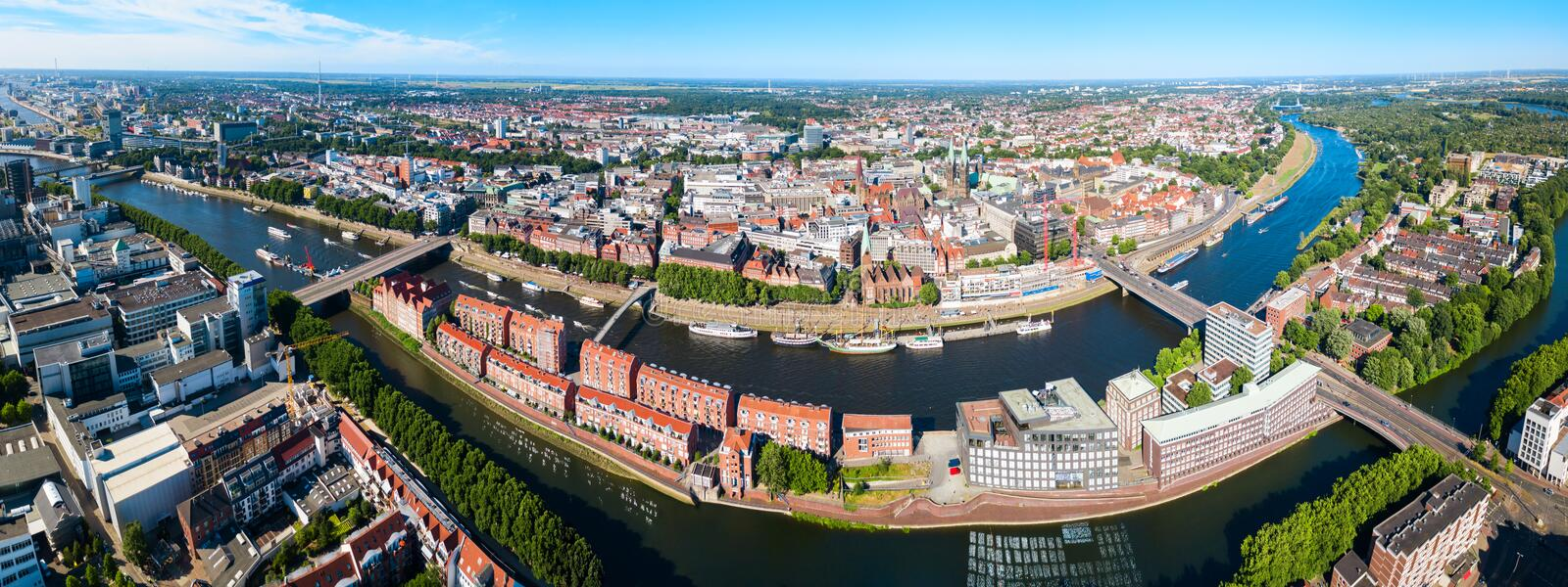 Bremen old town aerial view. Bremen old town aerial panoramic view in Germany royalty free stock image