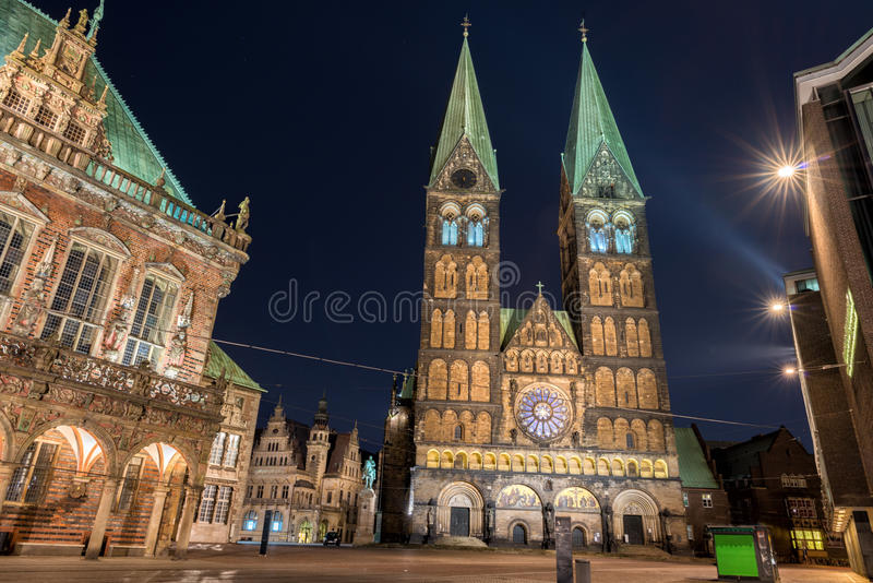 Bremen old town night view. Bremen old town historical center church dome city hall night view stock image