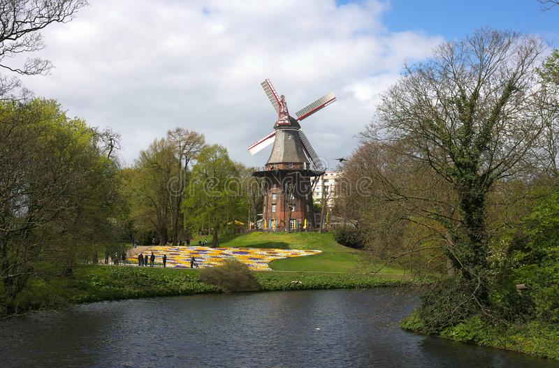 Bremen - windmill at ramparts - V -. The Bremen ramparts were part of the Bremen city fortifications and emerged from the fortifications built until the 17th royalty free stock photos